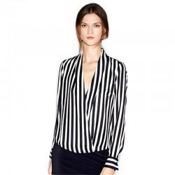 Blusa Listrada Feminina Zebra Social de Escritorio Elegante Trabalho