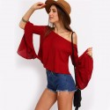 Fashion Red Blouse Beach Shoulder Dropped Style Bohemian Sleeve Flashlight