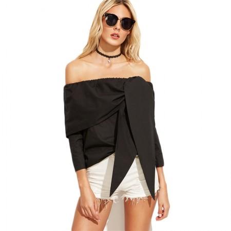Blusa Preta Grande Laço Fashion Feminina Assimetrico Ombro a Ombro
