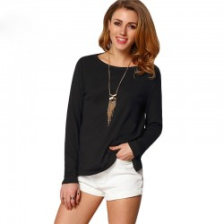 Women's Casual Blouse Fashion Summer Casual Long Sleeve Inverse Neckline