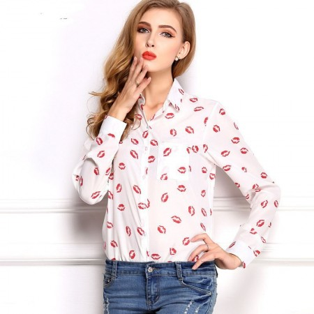 Blusas Bonitas Feminina Branca Camisa Estampada Beijos Manga Longa