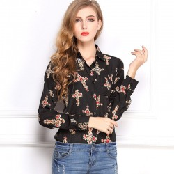 Floral Social Female Shirt on Black Cross Long Sleeve Working Shirt