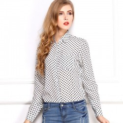 White Polka Dot Shirt Women's Long Sleeve University