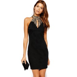 Dress Black Cocktail Elegant Short Hollow Zipper