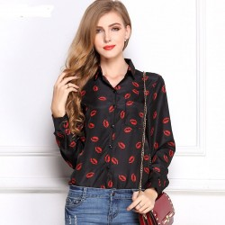 Women's Black Social Print Shirt Stamping Lipstick Kisses
