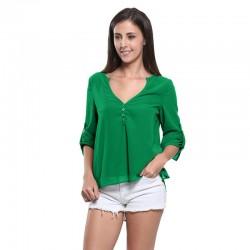 Beach Blouse Feminine Green Open Neckline 3/4 Sleeve Lightweight Summer