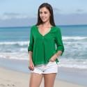 Blusa de Praia Feminina Verde Decote Aberto Manga 3/4 Leve Verão