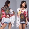 Kimono Tunic Chiffon Bat Sleeve Peplum Women's Floral Blouse