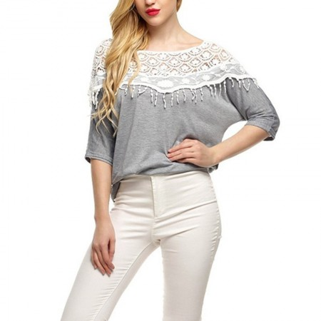 Women's Blouse Gray Sleeve Collar Wide Ack in Casual Lace