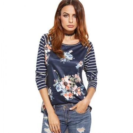 Camiseta Feminina Fashion Primavera Blusa Listrada Azul Escuro Floral