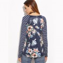 Women's Fashion T-Shirt Spring Blouse Striped Blue Dark Floral