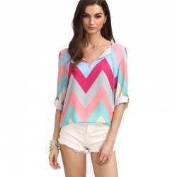 Women's Blouse Zig Zag Pastel Tones Light Pink Colorful Young Pop Fashion