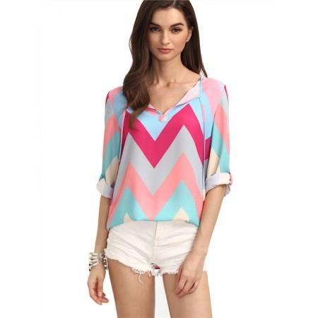 Blusa Feminina Zig Zag Tons Pasteis Rosa Claro Colorida Moda Jovem Pop