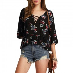 Blusa Viscose Floral Preta Feminina Moda Praia Laço no Decote Jovem