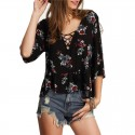 Blouses Viscose Floral Black Female Beach Fashion Bow Tie in Youth