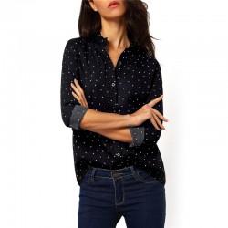 Camisa Social Feminina Escura com Pintas e Bolinhas Manga Longa