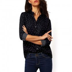 Women's Dark Social Shirt with Pints and Polka Dots Long Sleeve