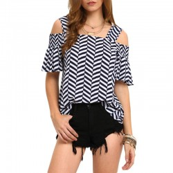 Women's Blouse Stripe Geometric Cutout Innovative Shoulder Out Beach