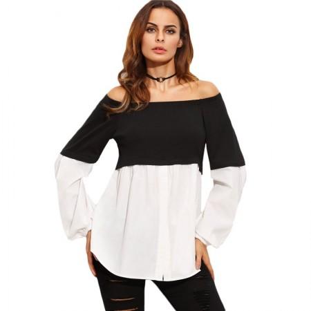 Blusa Feminina Confortável Moda Gravida Preto e Branco Estilo Boemio