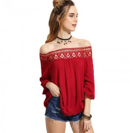 Women's Red Blouse Fallen Shoulder Fashion Beach Pleated POP Style