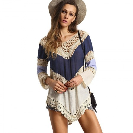 Fashion Beach May Female in Crochet Tankini Handmade Summer Blouse