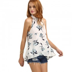 Blusa Estampada Branca Floral Feminina Moda Praia Regata com Laço