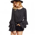 Women's Black Blouse Boemia in Layers Vintage Polka Dot Print