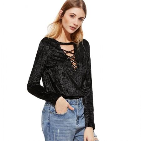 Blouse Long Sleeve Women's Textured Black Vintage Neckline