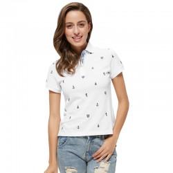 Camiseta Polo Feminina Branca Estampa Angoras Marinhas Esporte Fino