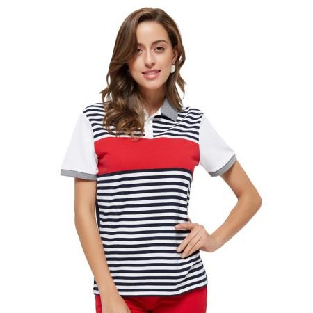 Camiseta Polo Feminina Esporte Fino Casual Listrada Branca e Vermelha