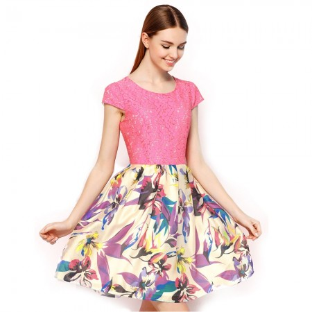 Vestido Floral Rosa Slim Delicado em Chiffon de Festa Casual