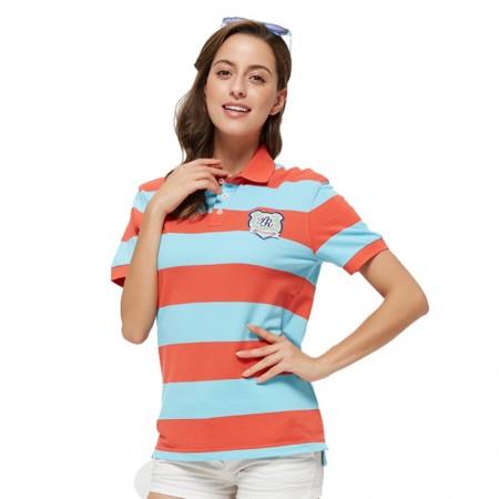Camiseta Polo Feminina Listrada Laranja e Azul Esporte Fino Casual