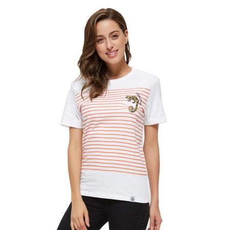 Camiseta Feminina Branca Estampa Listrada Básica Casual