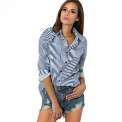 Blue Striped Social Shirt Women's Long Sleeve Business Shirt