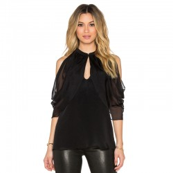 Women's Black Blouse With Dropped Shoulder Bag 3/4 Festa Clube