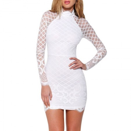 Dress Elegant Princess Short White Style Bride Long Sleeve
