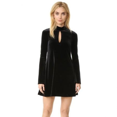 Vestido Curto de Veludo Feminino Preto Moda Inverno Manga Longo
