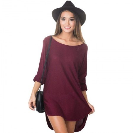 Women's Dress Asymmetrical Wine Medium Sleeve Open Collar Casual