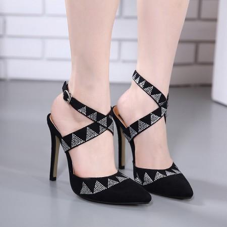 Women's Shoe Black Social Party Luxury Formal Open Heel Slim High