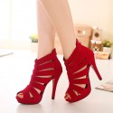 Women's Shoe Red Velvet Thin High Boot Party and Ballad