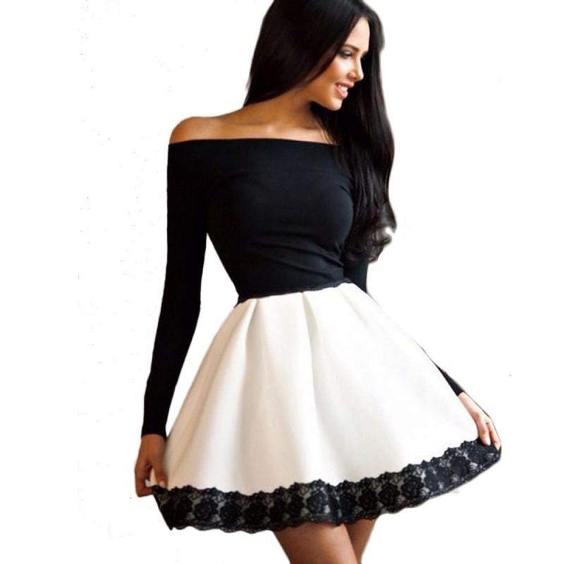 Vestido de manga longa curto