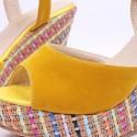 Sandalia Feminina Salto Alto com Plataforma Colorido Decorado Aberto