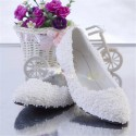 Women's White Sneaker Sneaker Decorated with Flowers