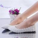 Sandalia Sapatilha Rasteira Feminina Branca Decorado com Flores
