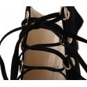 Bota Feminina Preta Cladiadora com Laços Coutry Salto Fino Vaquejada