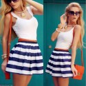 Summer Striped Short Dress White and Blue