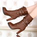Bota Preta Women's Roqueira Belt and Buckle Platform Alutra Knee