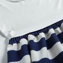 Vestido Listrado de Verão Curto Branco e Azul