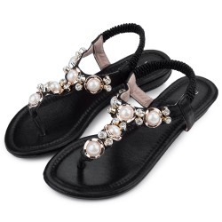 Women's Flat Sandal With Pearls Casual Black and Gold