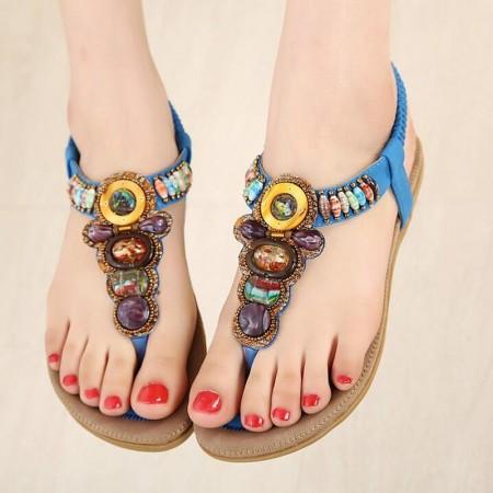 Sandalia Rasteira Feminina Casual Cigana com Pedras Coloridas Decorada